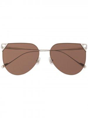 Солнцезащитные очки в круглой оправе Gentle Monster. Цвет: серебристый