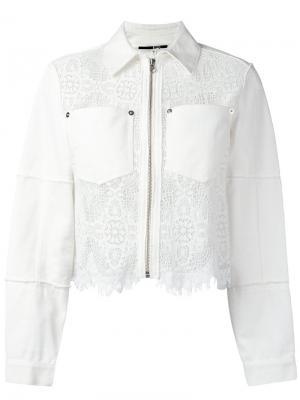 Джинсовая куртка Hybrid с кружевной отделкой McQ Alexander McQueen. Цвет: белый
