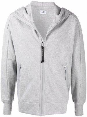 Zipped fitted hoodie C.P. Company. Цвет: серый