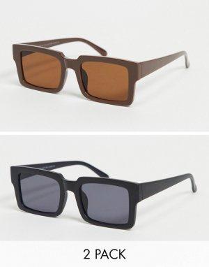 Комплект из 2 пар солнцезащитных очков черного и коричневого цвета в квадратной оправе -Многоцветный SVNX