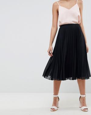 Плиссированная юбка миди -Черный ASOS DESIGN