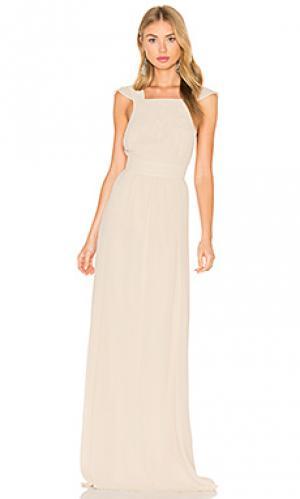 Макси платье без рукавов с квадратным вырезом Hoss Intropia. Цвет: беж