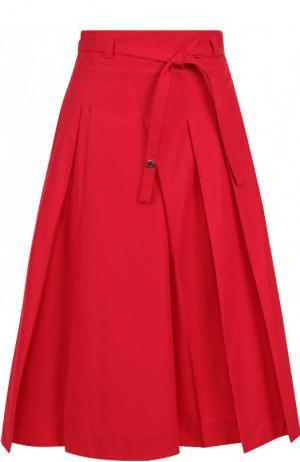 Однотонная хлопковая юбка-миди с поясом Loro Piana. Цвет: красный