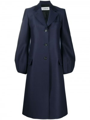 Однобортное пальто с объемными рукавами LANVIN. Цвет: синий