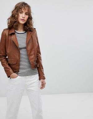 Кожаная байкерская куртка с маленьким карманом спереди Barneys Originals Barney's. Цвет: коричневый