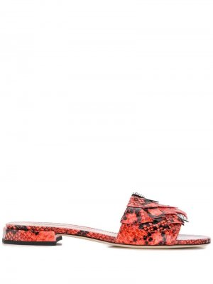 Сандалии со змеиным принтом Alberto Gozzi. Цвет: розовый