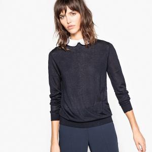 Пуловер с закругленным отложным воротником LA REDOUTE COLLECTIONS. Цвет: зеленый,серый меланж,черный