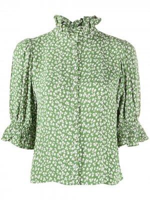 Блузка с оборками на воротнике byTiMo. Цвет: зеленый