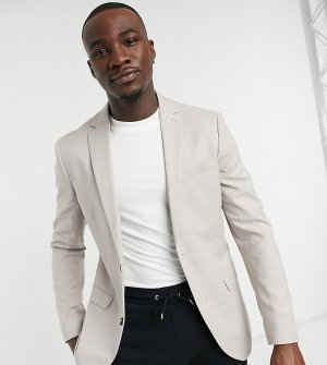 Однобортный приталенный пиджак светло-бежевого цвета Big & Tall-Бежевый Topman