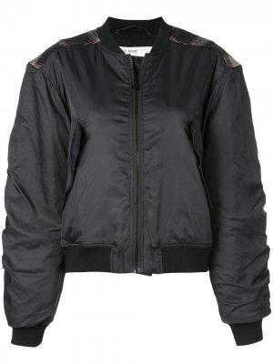 Куртка-бомбер с нашивкой в клетку Designers Remix. Цвет: черный