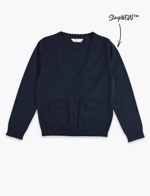Школьный кардиган из 100%-го хлопка для девочек Marks & Spencer. Цвет: темно-синий