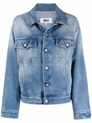 Джинсовая куртка с эффектом потертости MM6 Maison Margiela. Цвет: синий