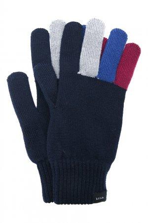 Темно-синие перчатки с контрастной отделкой PAUL SMITH. Цвет: синий