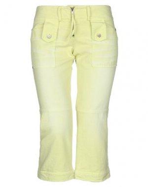 Джинсовые брюки-капри ANNARITA N. Цвет: кислотно-зеленый