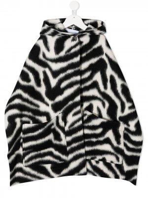 Zebra print cape coat Dondup Kids. Цвет: черный