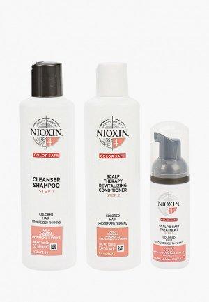 Набор для ухода за волосами Nioxin система 4: шампунь (150 мл), кондиционер маска (40 мл). Цвет: прозрачный