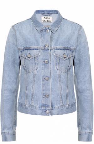 Укороченная джинсовая куртка с накладными карманами Acne Studios. Цвет: голубой