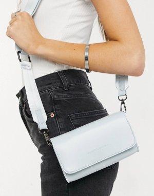 Бледно-голубая маленькая сумка через плечо с тканым ремнем -Голубой Claudia Canova