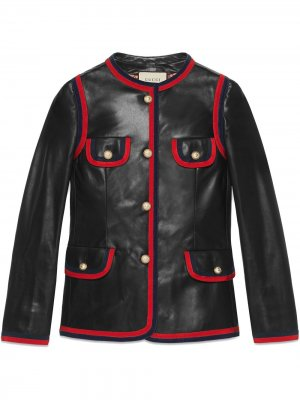 Leather jacket with ribbon trim Gucci. Цвет: черный