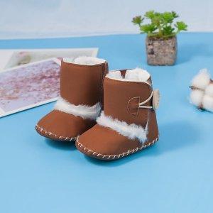 Детские плюшевые зимние сапоги SHEIN. Цвет: коричневые