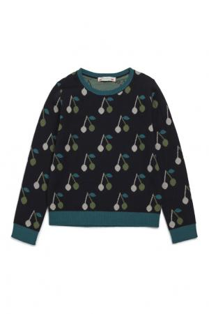 Пуловер синий шерстяной Bonpoint. Цвет: синий