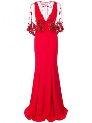 Платье-кейп со шлейфом Marchesa Notte