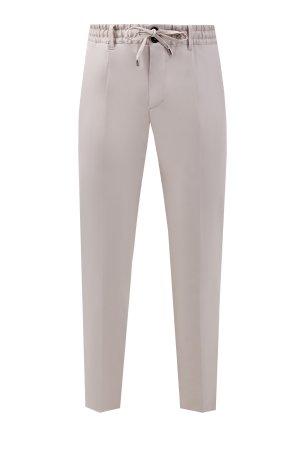 Хлопковые брюки-чинос из габардина с эластичным поясом CORTIGIANI. Цвет: бежевый