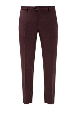 Фланелевые брюки из шерстяной ткани в классическом стиле ETRO. Цвет: коричневый