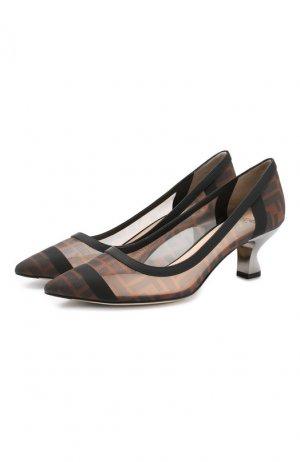 Текстильные туфли Fendi. Цвет: черный