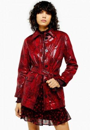Куртка кожаная Topshop. Цвет: красный