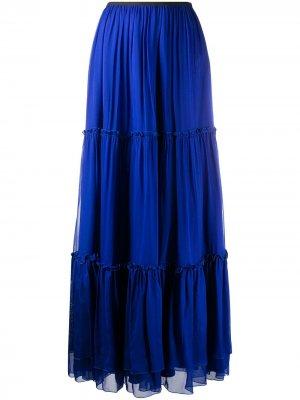 Ярусная юбка макси Federica Tosi. Цвет: синий