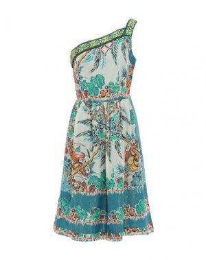 Платье до колена ANNA SUI. Цвет: цвет морской волны
