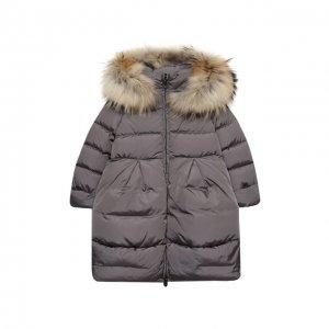 Пуховое пальто Il Gufo. Цвет: серый