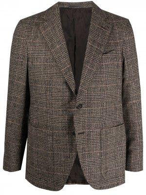 Однобортный пиджак в клетку Caruso. Цвет: коричневый