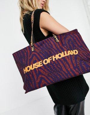 Большая сумка-тоут темно-синего цвета с оранжевым принтом логотипа -Многоцветный House of Holland