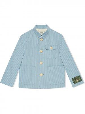 Пиджак в полоску Gucci Kids. Цвет: синий