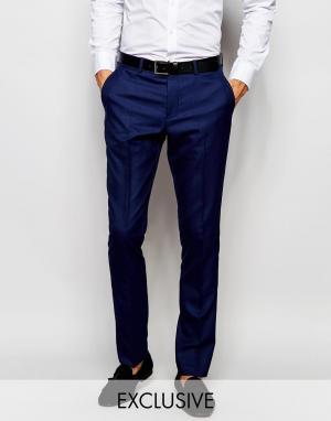 Зауженные брюки под смокинг эксклюзивно для Selected Homme. Цвет: синий