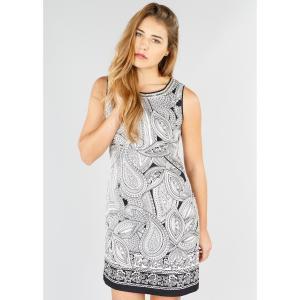 Платье прямое с рисунком из кашемира, без рукавов DERHY. Цвет: черный/ белый