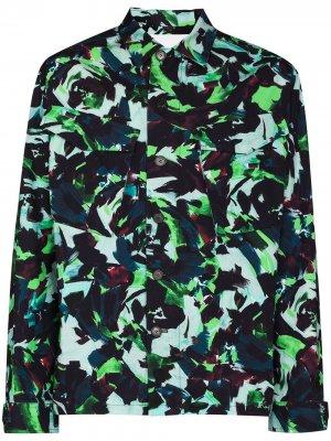 Куртка-рубашка с цветочным принтом Kenzo. Цвет: зеленый