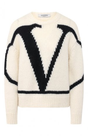 Шерстяной пуловер Valentino. Цвет: черно-белый