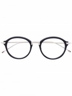 Очки в круглой оправе Thom Browne Eyewear. Цвет: серебристый