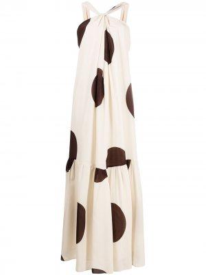 Платье в горох с вырезом халтер Erika Cavallini. Цвет: нейтральные цвета
