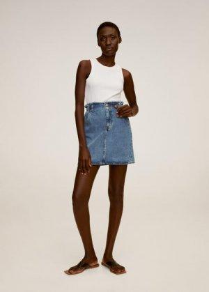 Джинсовая юбка paper bag - Paperbag Mango. Цвет: синий средний