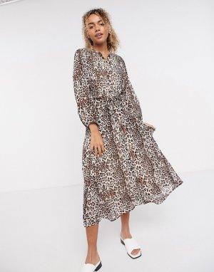 Платье миди с леопардовым принтом InWear-Многоцветный In Wear
