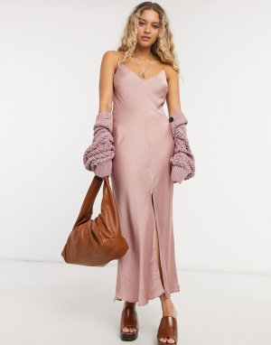 Розовое платье-майка макси Smoke & Mirrors-Розовый цвет Free People