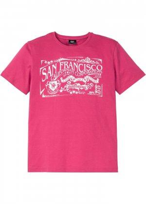Прямая футболка с принтом bonprix. Цвет: ярко-розовый