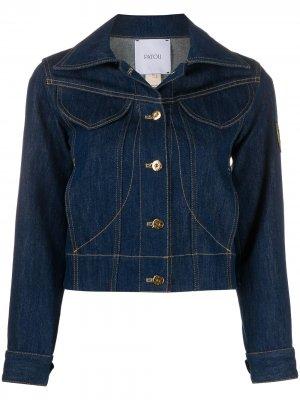 Джинсовая куртка с нашивкой-логотипом Patou. Цвет: синий