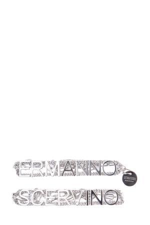 Серебристый браслет в стиле грандж с монограммой бренда ERMANNO SCERVINO. Цвет: серебристый