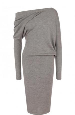 Кашемировое платье-миди с открытым плечом Tom Ford. Цвет: серый