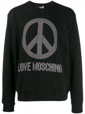 Толстовка с декорированным логотипом Love Moschino. Цвет: черный